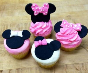 cupcake, pink, and minnie image