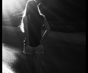 black and white, girl, and sun image