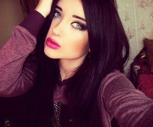 black hair, pink lips, and blue eye image