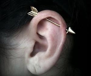 piercing, arrow, and ear image