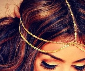 hair, gold, and brunette image