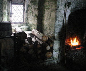 cottage, fire, and winter image