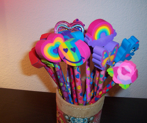 lisa frank, cute earers, and colection of erasers image