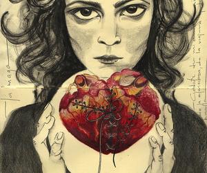 heart, art, and girl image