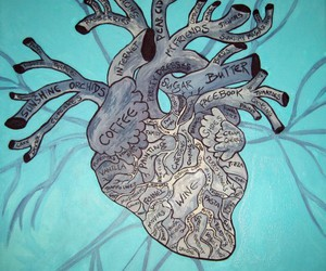 heart, paint, and anatomical image