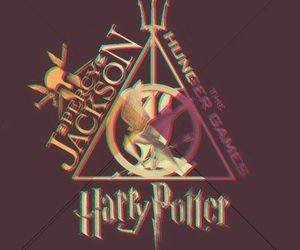 harry potter, percy jackson, and the hunger games image