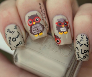 owl, nails, and nail art image
