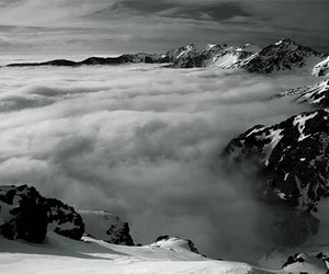black and white, mountains, and clouds image