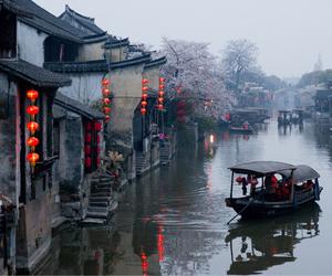 boat, china, and fog image