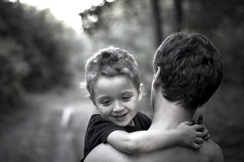father and black and white image