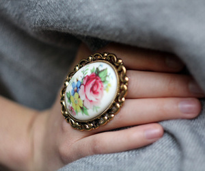 ring, flowers, and vintage image