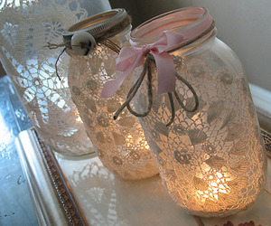 jar, lace, and light image
