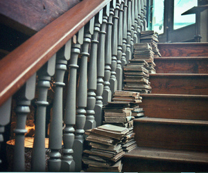 book, stairs, and vintage image