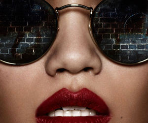 lips, red, and glasses image