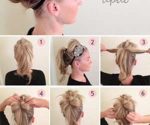 chignon, hairband, and make up tutorial image