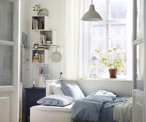 bedroom, white, and blue image