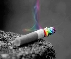 cigarette, smoke, and rainbow image