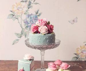 cake, rose, and food image