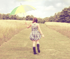 girl, umbrella, and dress image