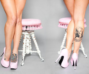 tattoo, legs, and heels image