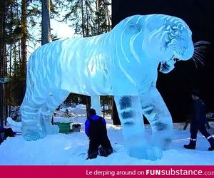 ice, tiger, and sculpture image