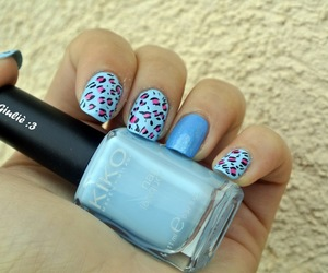 blue, leopard, and nail polish image