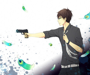 blue exorcist, art, and gun image