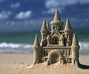 beach, friends, and castle image