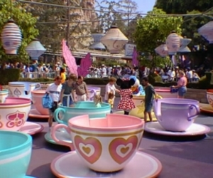 disney, disneyland, and mad hatters tea party image