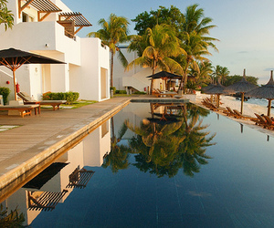 beach house, paradise, and pool image