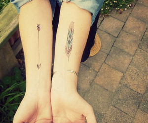 arrow, feather, and hipster image
