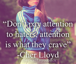 cher lloyd, quote, and haters image