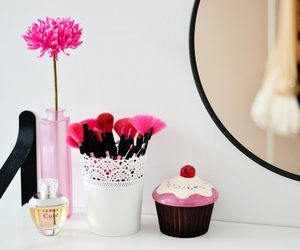 pink, flowers, and cupcake image