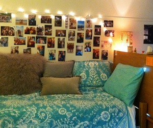 lights, photos, and college dorm room image