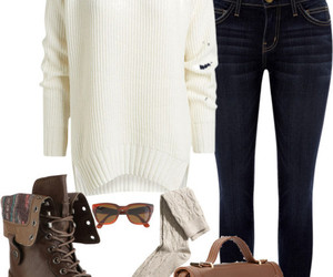 casual, simple outfit, and white sweater image