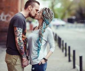 tattoo, couple, and hair image