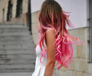 chic, white dress, and pink highlits image