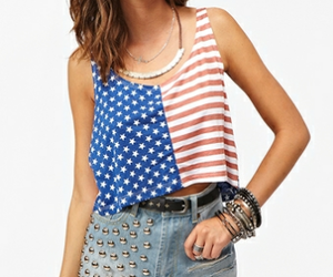 denim shorts, neclace, and american flag tank top image