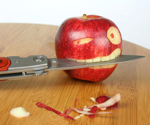 apple, funny, and knife image