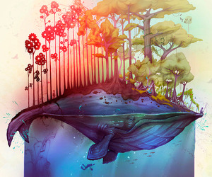 art, whale, and nature image