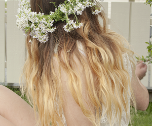 blond, flower crown, and flowers image