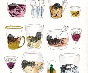 cups, drawing, and drinks image