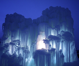 blue, ice, and forest image
