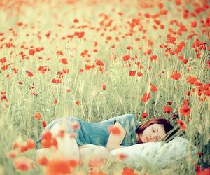flowers, sleep, and red image