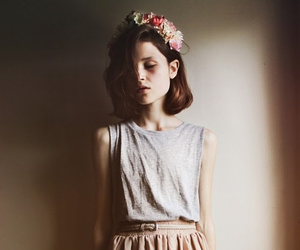 girl, flowers, and vintage image