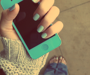 iphone, nails, and blue image
