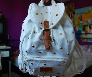 bag, white, and backpack image
