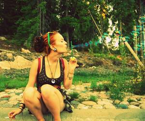 bubbles, forest, and girl image