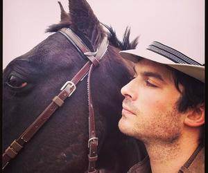 ian somerhalder, horse, and tvd image