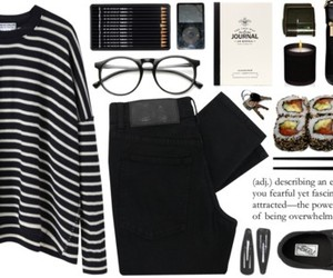 black, outfit, and sushi image
